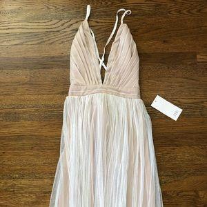 NWT White/Nude Tulle Maxi Dress